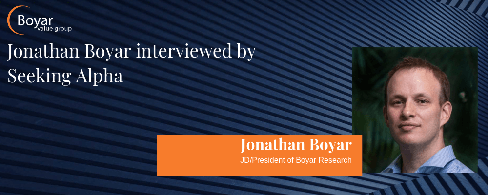Jonathan Boyar interviewed by Seeking Alpha